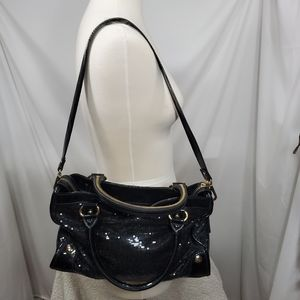 Gianni Bini Black Sequin Patent Leather Bag